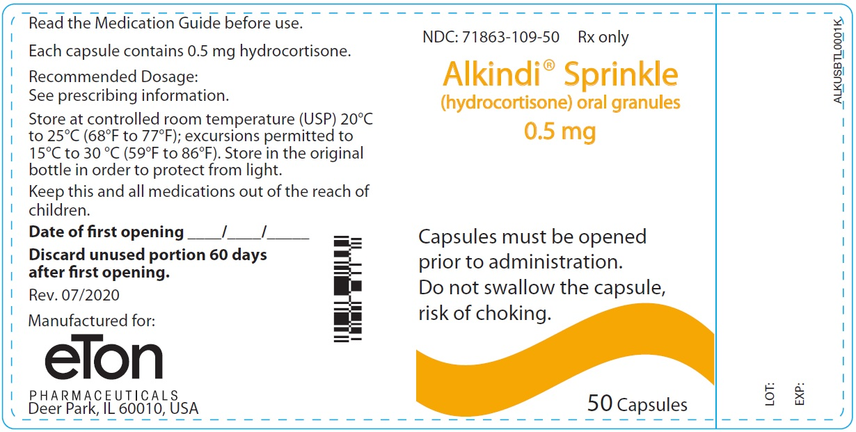 Alkindi Sprinkle (hydrocortisone) oral granules 0.5 mg - NDC: <a href=/NDC/71863-109-50>71863-109-50</a> - 50 Tablets Container Label