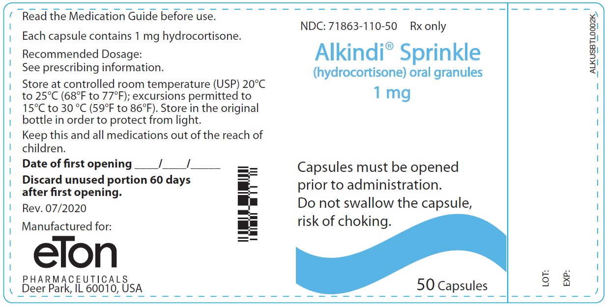 Alkindi Sprinkle (hydrocortisone) oral granules 1 mg - NDC: <a href=/NDC/71863-110-50>71863-110-50</a> - 50 Tablets Container Label