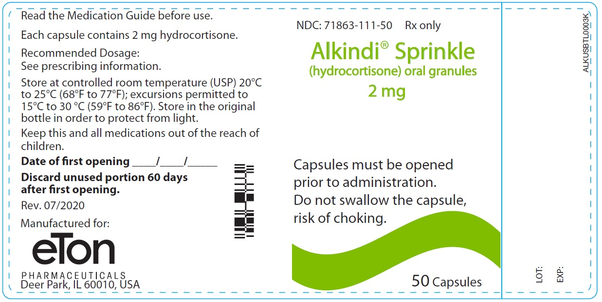 Alkindi Sprinkle (hydrocortisone) oral granules 2 mg - NDC: <a href=/NDC/71863-111-50>71863-111-50</a> - 50 Tablets Container Label