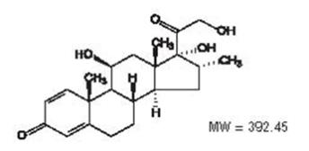 The chemical structure for the active ingredient, dexamethasone