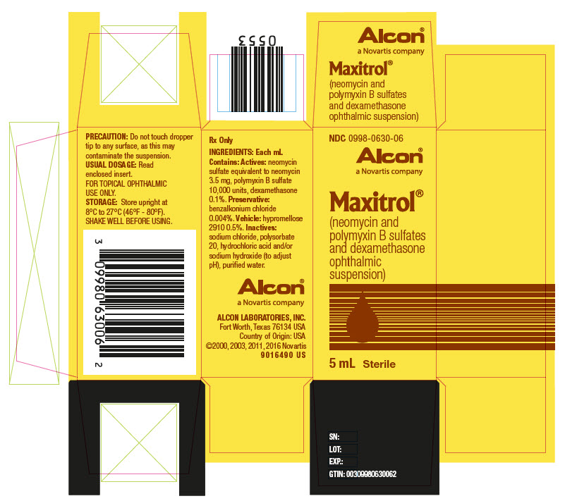 NDC: <a href=/NDC/0998-0630-06>0998-0630-06</a> Alcon®  Maxitrol® (neomycin and polymyxin B sulfates and dexamethasone ophthalmic suspension) 5 mL   Sterile