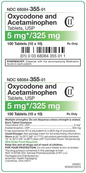 5mg/325mg Oxycodone/APAP Tablets Carton