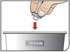 Image of cartridge being thrown away