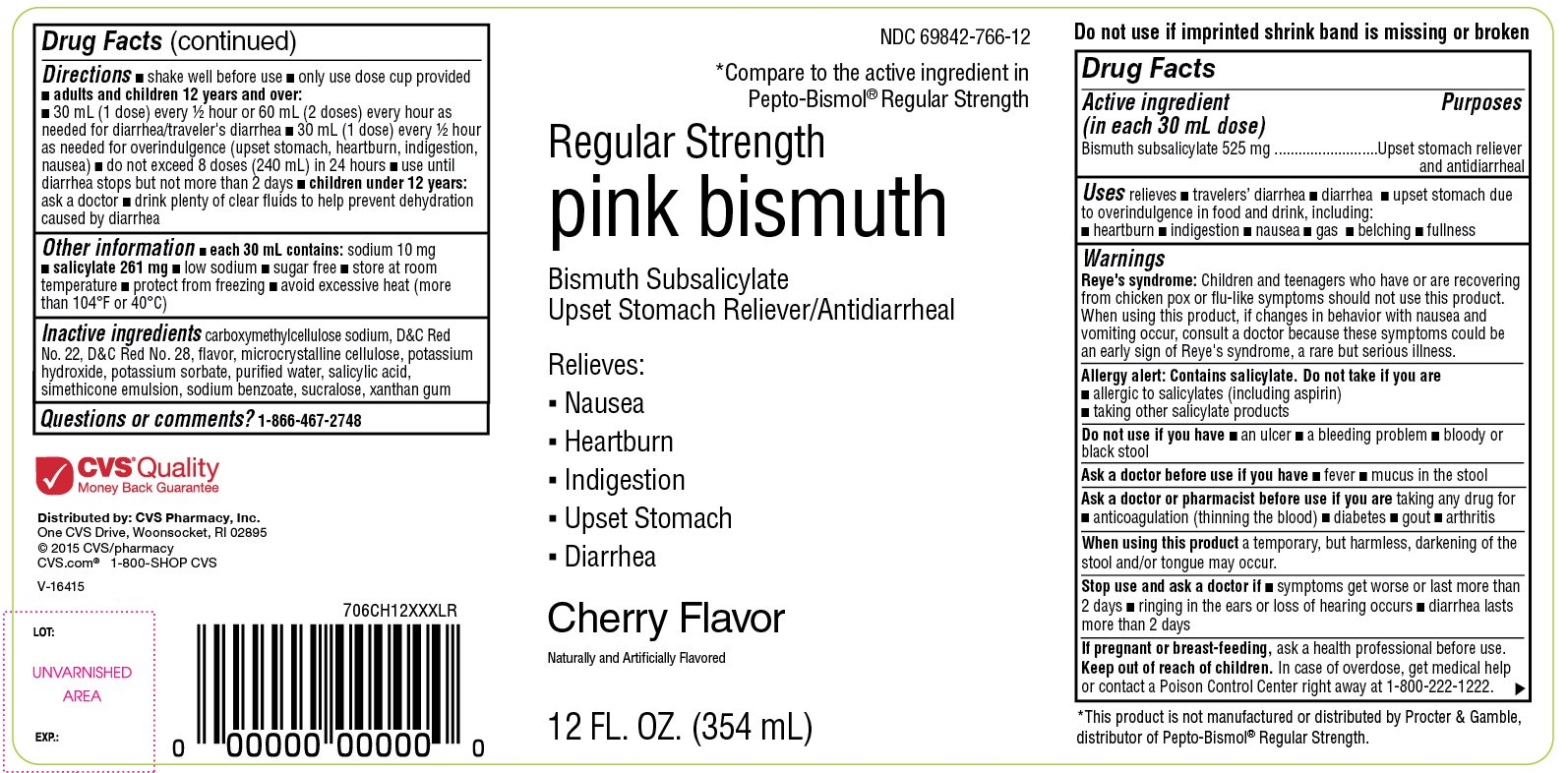CVS Regular Strength Pink Bismuth Cherry Flavor