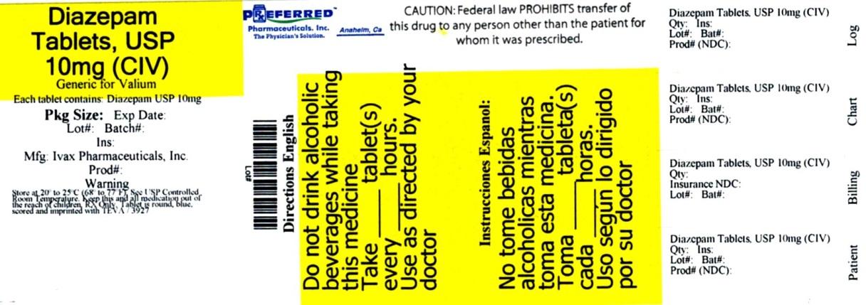 Diazepam Tablets, USP 10mg (CIV)