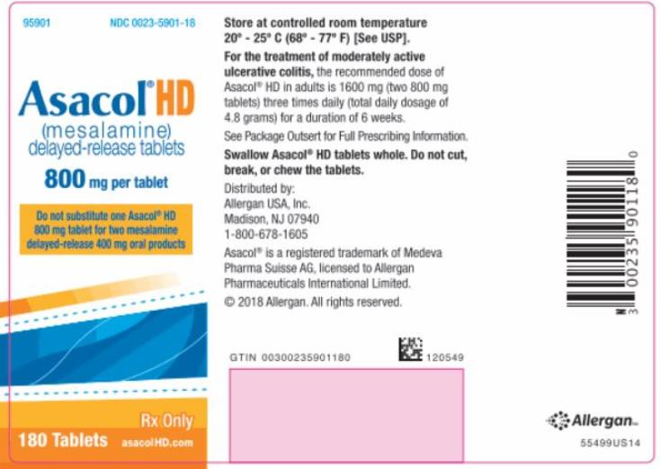 NDC: <a href=/NDC/0023-5901-18>0023-5901-18</a> Asacol® HD (mesalamine) delayed-release tablets 800 mg per tablet 180 Tablets Rx Only