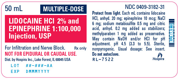 PRINCIPAL DISPLAY PANEL - 50 mL Vial Label - 3182