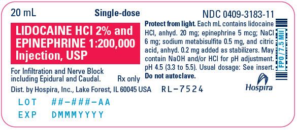 PRINCIPAL DISPLAY PANEL - 20 mL Vial Label - 3183