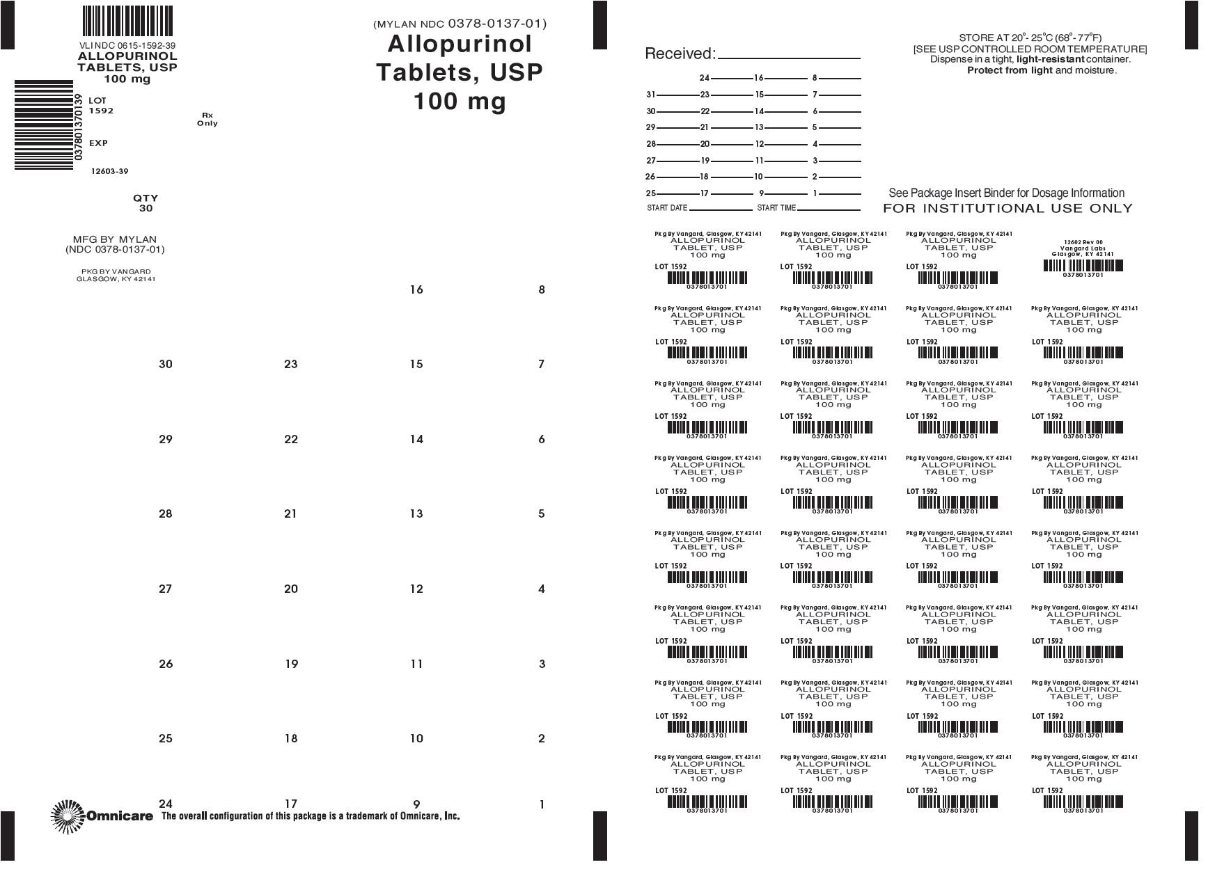 Allopurinol 100mg bingo card label
