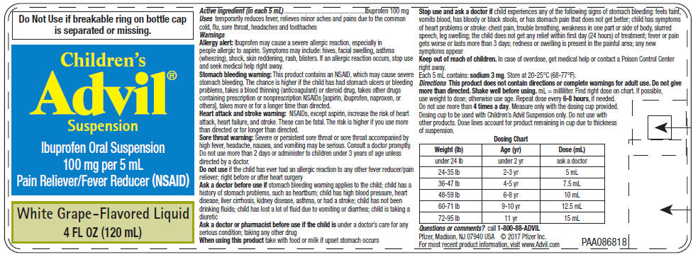 PRINCIPAL DISPLAY PANEL - 120 mL Bottle Label - White Grape-Flavored