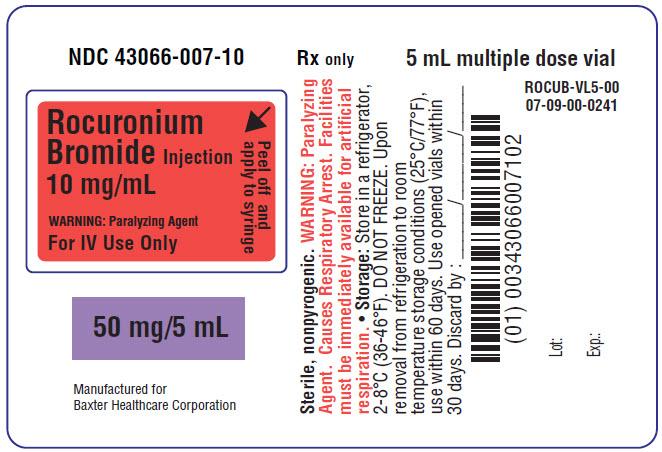 Rocuronium Representative Container Label 50 mg 43066-007-10