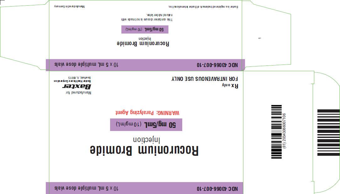 Rocuronium Representative Carton Label 50mg 43066-007-10 1 of 4