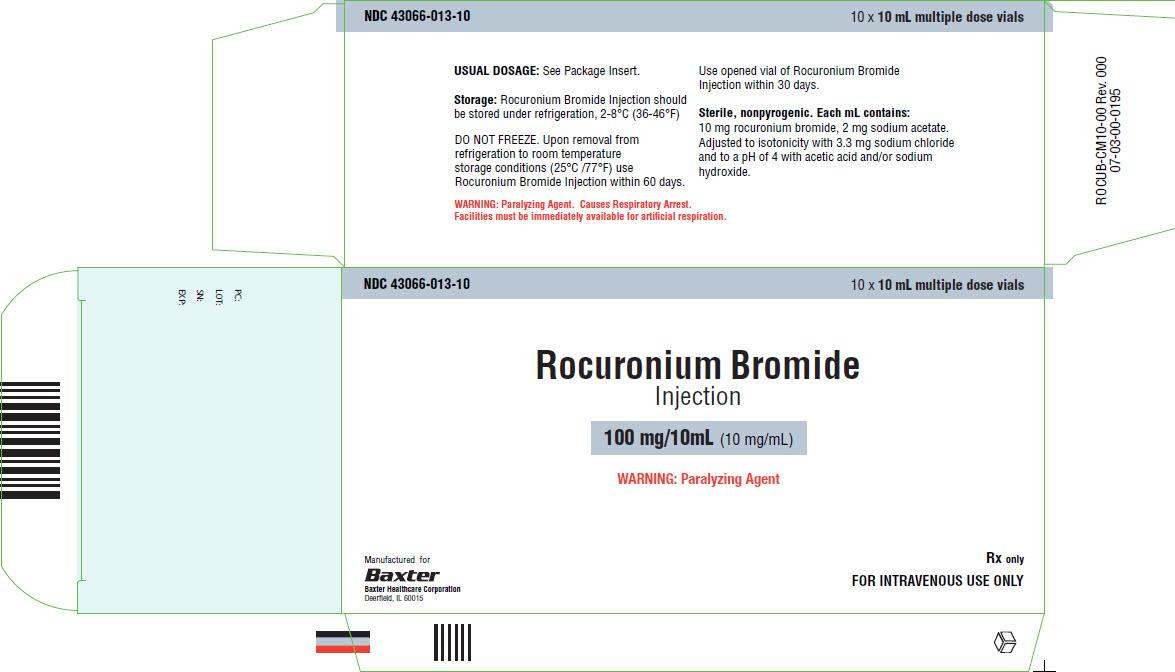 Rocuronium Representative Container Label 100 mg 43066-013-10