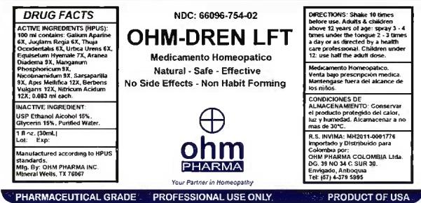 OHM-DREN LFT 1 oz bottle label