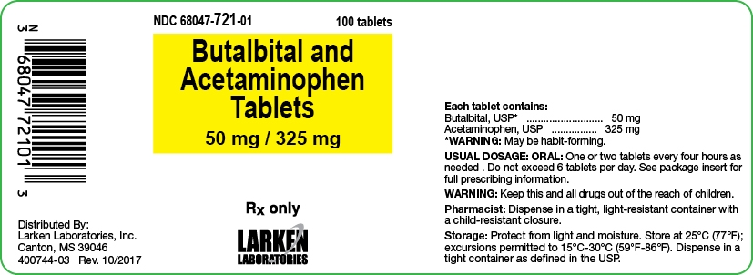 Butalbital and Acetaminophen 50 mg 325 mg label
