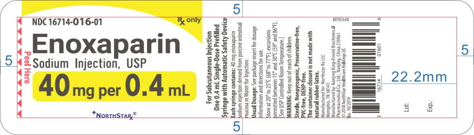 Principal Display Panel – Enoxaparin Sodium Injection, USP 40 mg Blister Pack Northstar Label