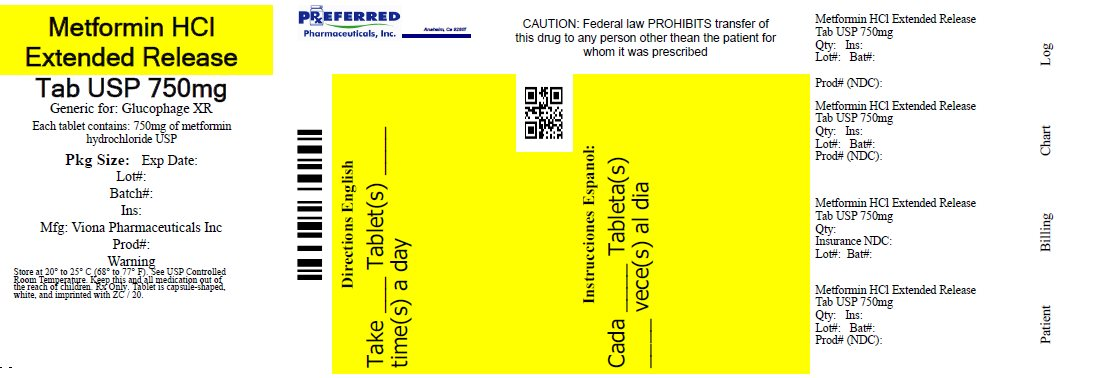 Metformin HCl Extended Release Tab USP 750mg