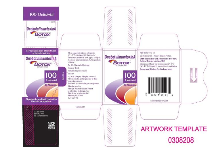 PRINCIPAL DISPLAY PANEL NDC: <a href=/NDC/0023-1145-01>0023-1145-01</a> Onabotulinumtoxin A BOTOX for injection 100 Units/Vial