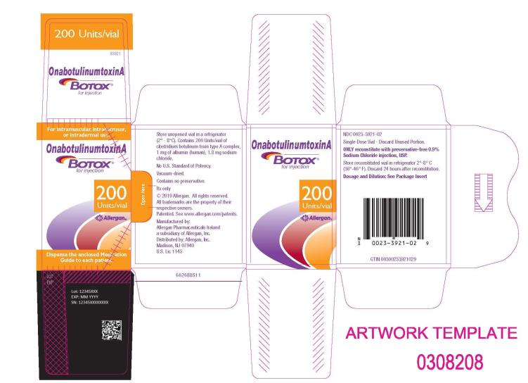 PRINCIPAL DISPLAY PANEL NDC: <a href=/NDC/0023-3921-02>0023-3921-02</a> Onabotulinumtoxin A BOTOX for injection 200 Units/Vial