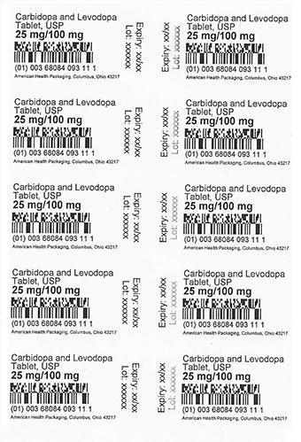 25 mg/100 mg Carbidopa/ Levodopa Tablet Card Print