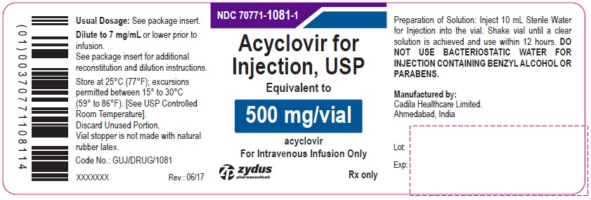 Acyclovir sodium Injection, 500 mg/vial