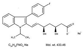 Fluvastatin sodium structural formula