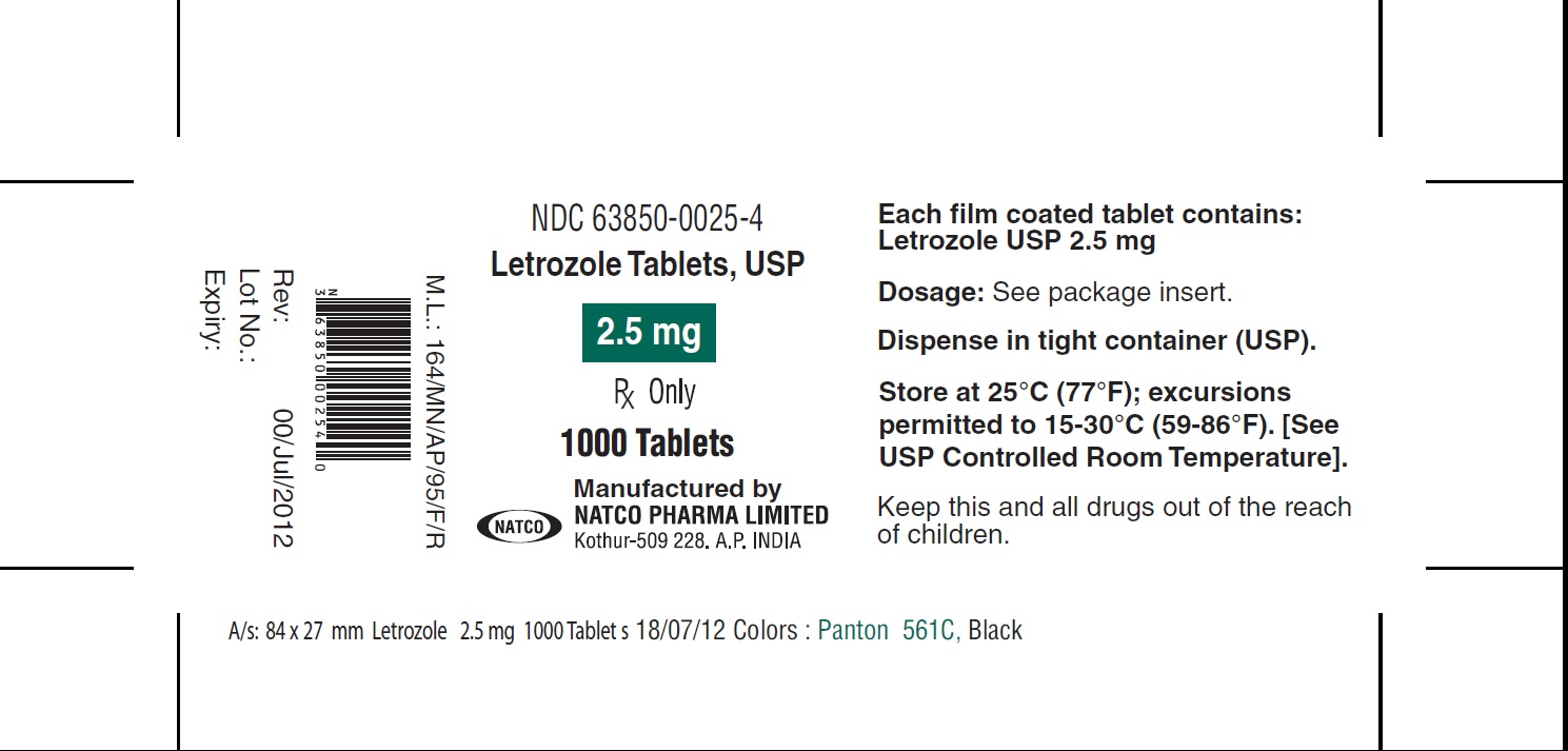 letrozole tablets bottle of 1000s label