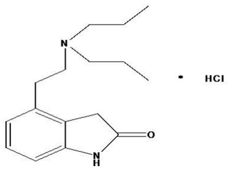 The structural formula for Ropinirole tablets, USP are an orally administered non-ergoline dopamine agonist. It is the hydrochloride salt of 4-[2-(dipropylamino) ethyl]-1, 3-dihydro-2H-indol-2-one monohydrochloride and has an empirical formula of C16H24N2OHCl. The molecular weight is 296.84 (260.38 as the free base).