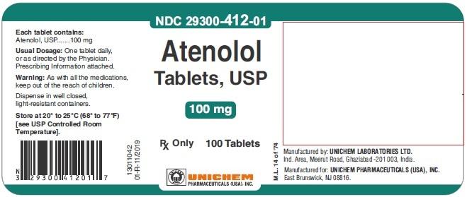 Atenolol Tablets USP, 100 mg