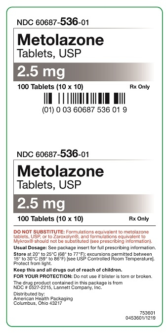 2.5 mg Metolazone Tablets Carton