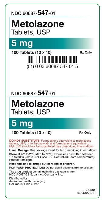 5 mg Metolazone Tablets Carton