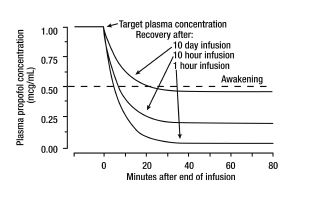 Plasma Propofol Levels Overtime