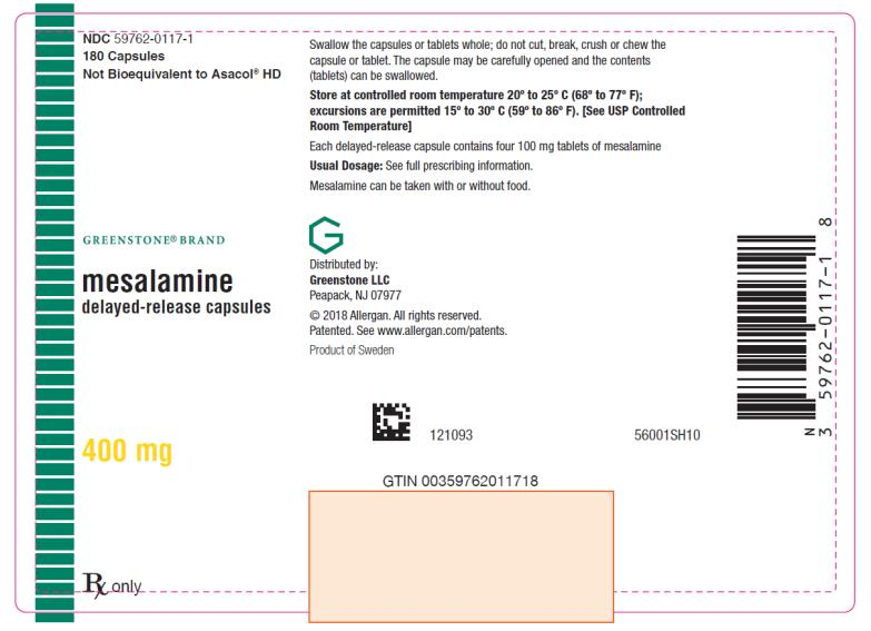 PRINCIPAL DISPLAY PANEL NDC: <a href=/NDC/59762-0117-1>59762-0117-1</a> 180 Capsules Mesalamine delayed-release capsules 400 mg Rx Only