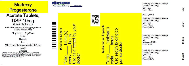 Medroxy Progesterone Acetate Tablets USP 10mg