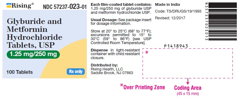 PACKAGE LABEL-PRINCIPAL DISPLAY PANEL - 1.25 mg/250 mg (100 Tablets Bottle)