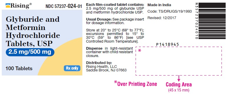 PACKAGE LABEL-PRINCIPAL DISPLAY PANEL - 2.5 mg/500 mg (100 Tablets Bottle)