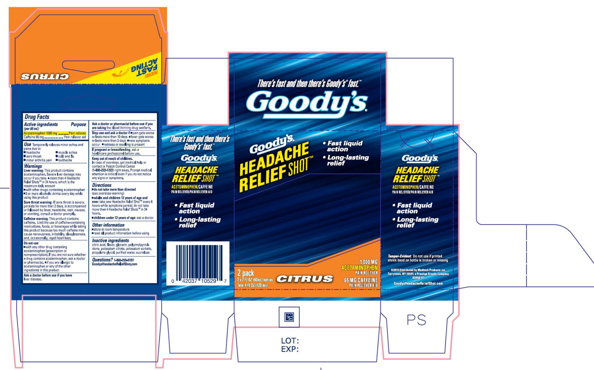 NDC- 63029-629-01 Goody's Headache Relief Shot 2 Pack Citrus
