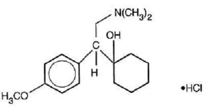 Structural formula for venalfaxine hydrochloride, USP