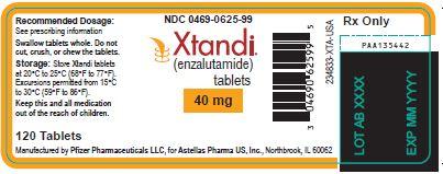 Xtandi (enzalutamide) tablets 40 mg label