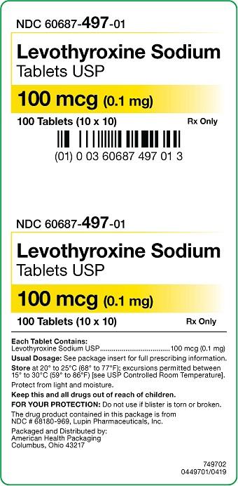 100 mcg Levothyroxine Sodium Tablets Carton