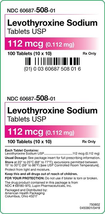 112 mcg Levothyroxine Sodium Tablets Carton