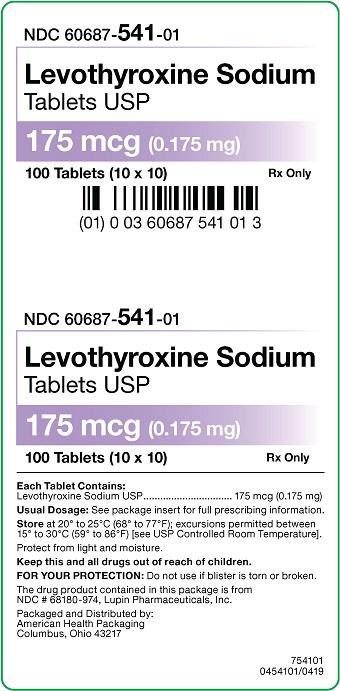 175 mcg Levothyroxine Sodium Tablets Carton