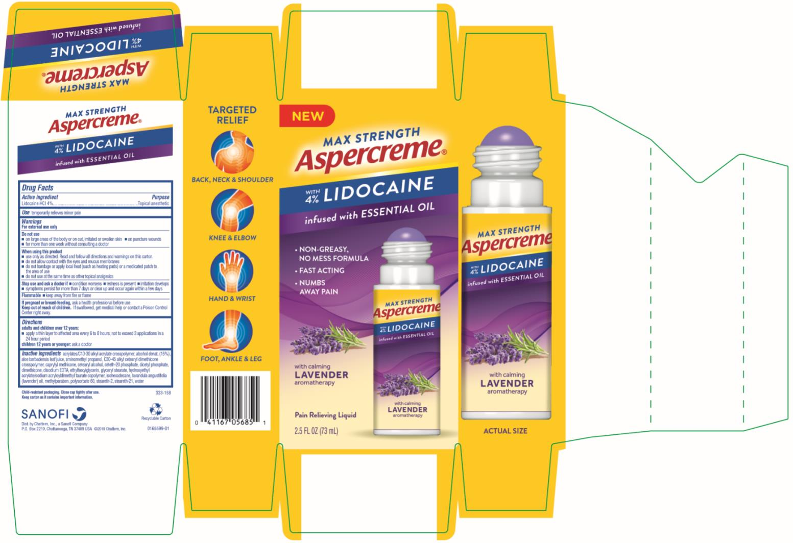 PRINCIPAL DISPLAY PANEL Max Strength Aspercreme with 4% LIDOCAINE infused with ESSENTIAL OIL LAVENDER 2.5 FL OZ (73 mL)