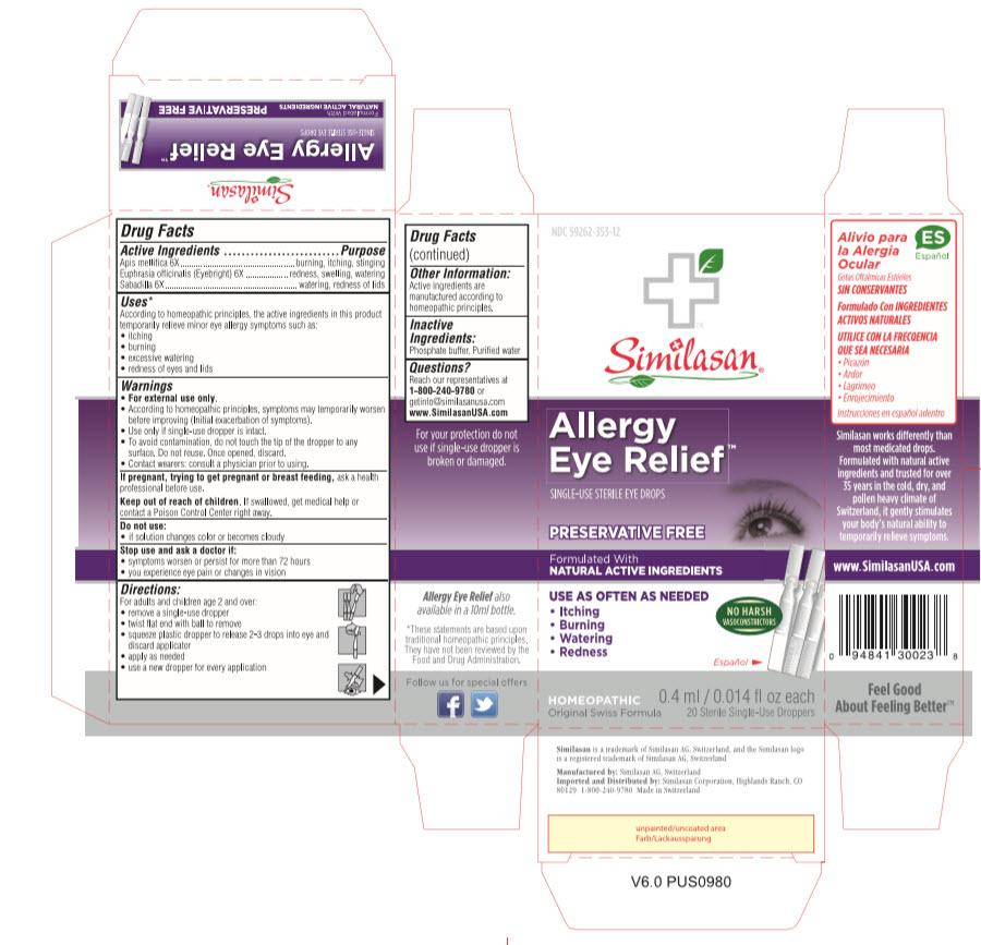 NDC: <a href=/NDC/59262-353-12>59262-353-12</a> Similasan Allergy Eye Relief SINGLE-USE STERILE EYE DROPS 0.4 ml / 0.014 fl oz each 20 Sterile Single-Use Droppers