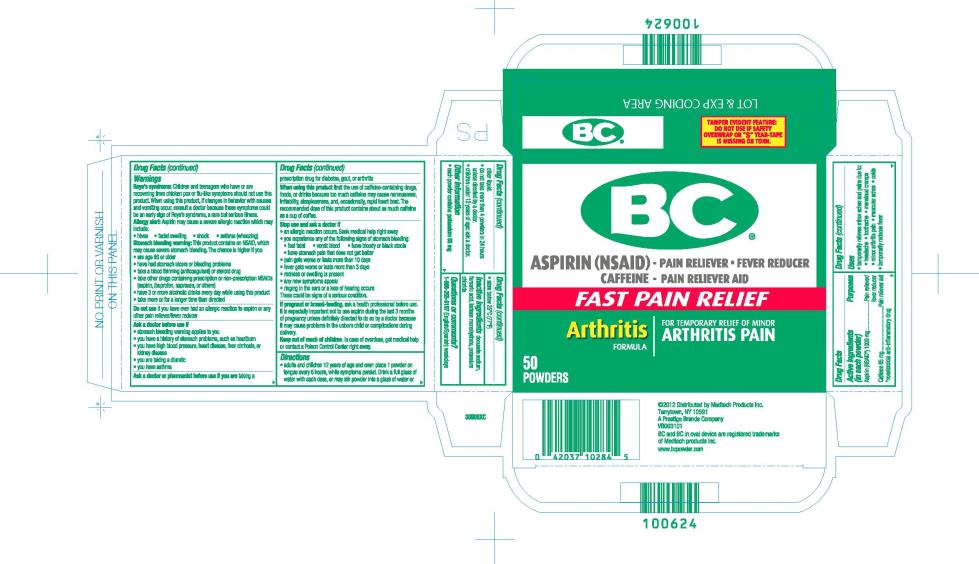 BC® ASPIRIN (NSAID) – PAIN RELIEVER ● FEVER REDUCER CAFFEINE – PAIN RELIEVER AID FAST PAIN RELIEF Arthritis FORMULA FOR TEMPORARY RELIEF OF MINOR ARTHRITIS PAIN 50 POWDERS
