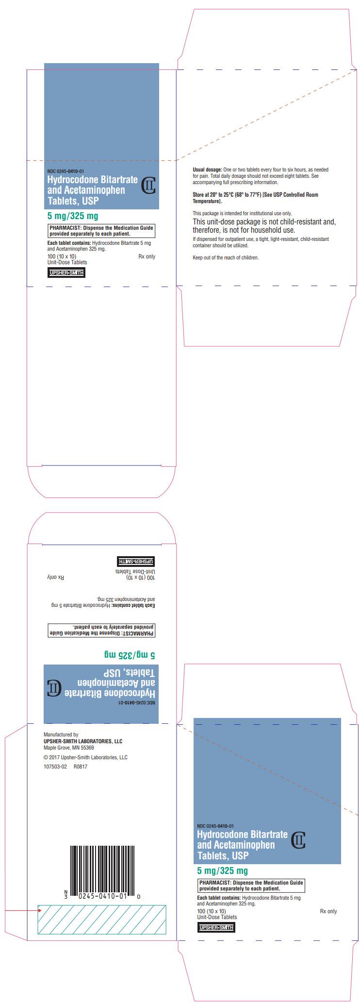 PRINCIPAL DISPLAY PANEL - 5 mg/325 mg Tablet Blister Pack Carton