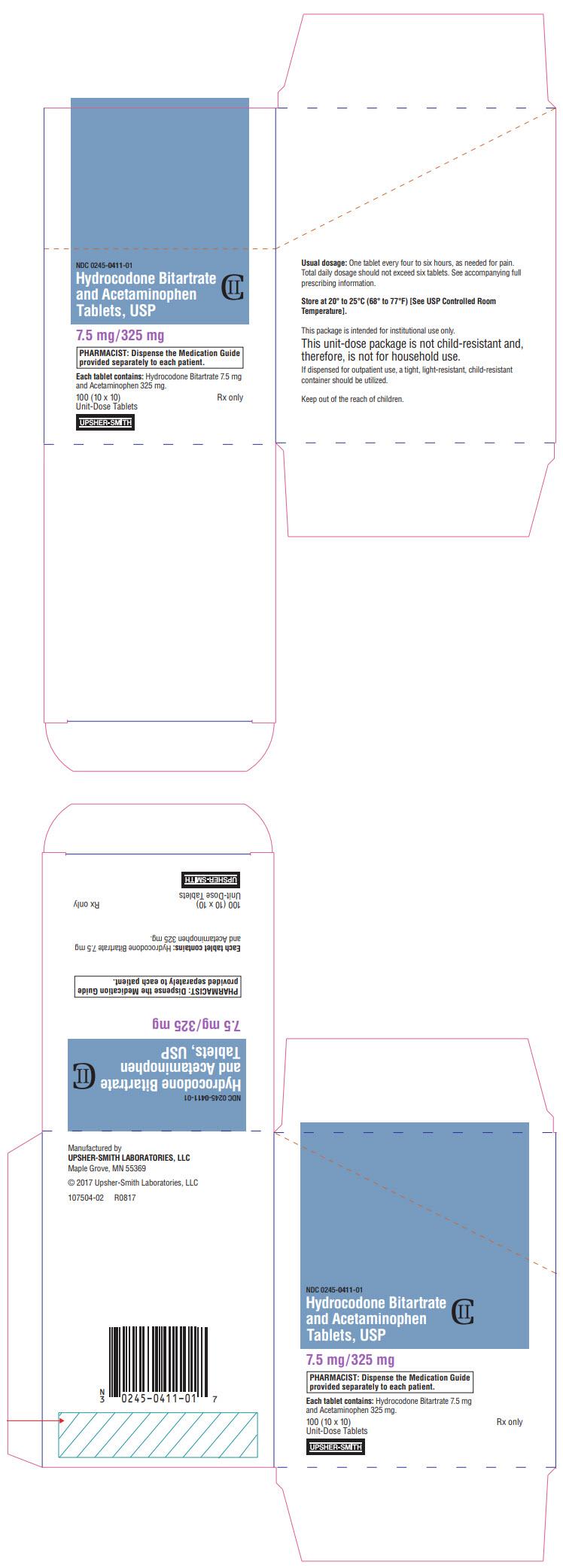 PRINCIPAL DISPLAY PANEL - 7.5 mg/325 mg Tablet Blister Pack Carton