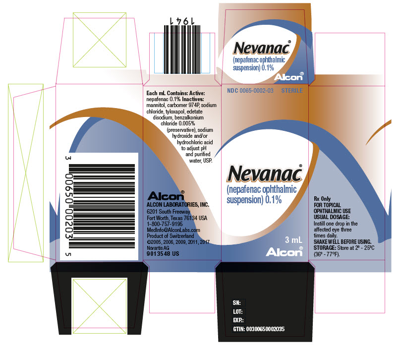 PRINCIPAL DISPLAY PANEL NDC: <a href=/NDC/0065-0002-03>0065-0002-03</a> STERILE Nevanac (nepafenac ophthalmic  suspension) 0.1% 3 mL Alcon