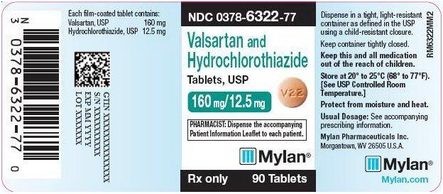 Valsartan and Hydrochlorothiazide Tablets, USP 160 mg/12.5 mg Bottle Label