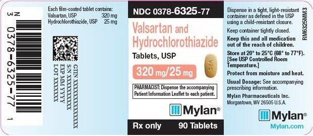Valsartan and Hydrochlorothiazide Tablets, USP 320 mg/25 mg Bottle Label